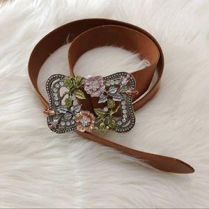 Leather and enamel buckel belt--small
